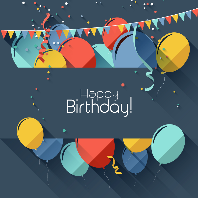 Happy Birthday Ribbons Balloons Vector
