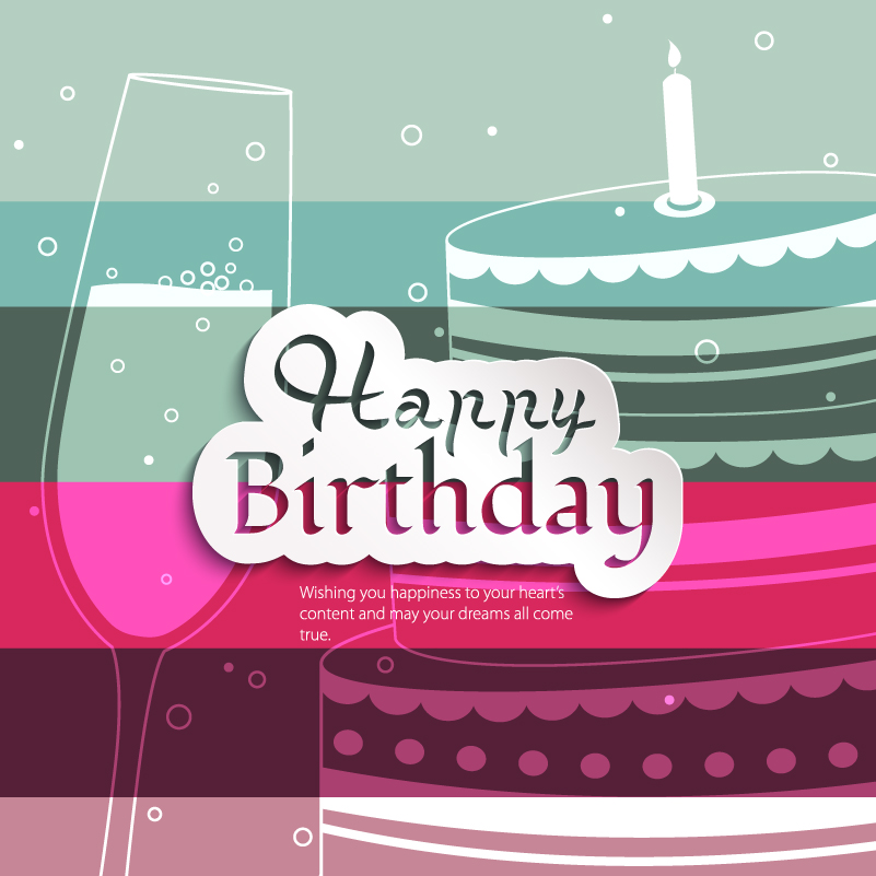 Happy Birthday Wine Cake Vector
