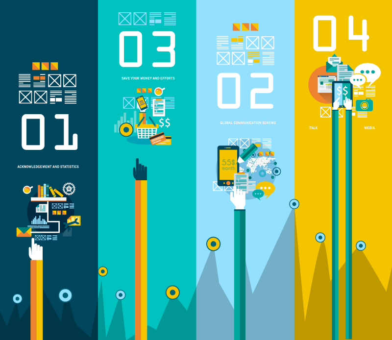 Infographic Global Communication Scheme Vector