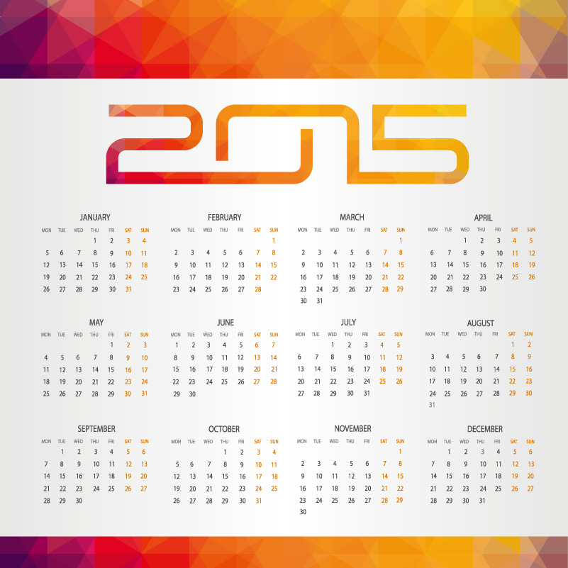 Jigsaw Yellow Calendar 2015 Vector