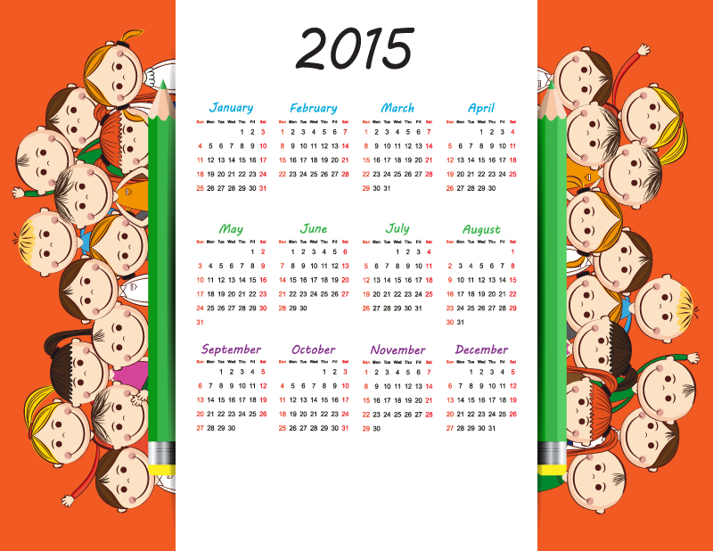 Kids Pencil Calendar 2015 Vector