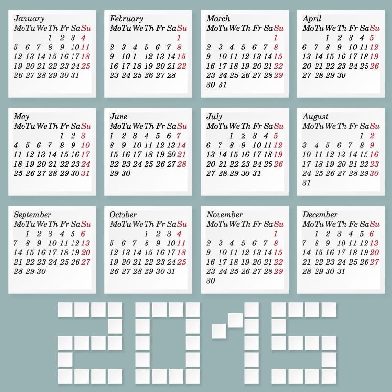 LED Blue Calendar 2015 Vector