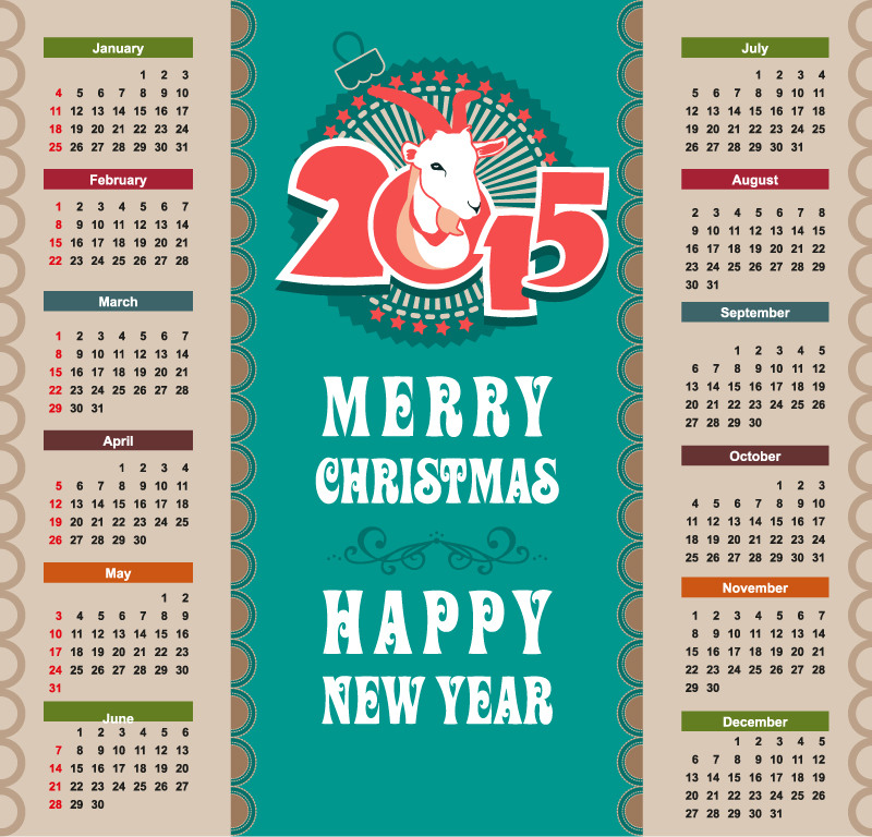 Merry Christmas Calendar 2015 Vector