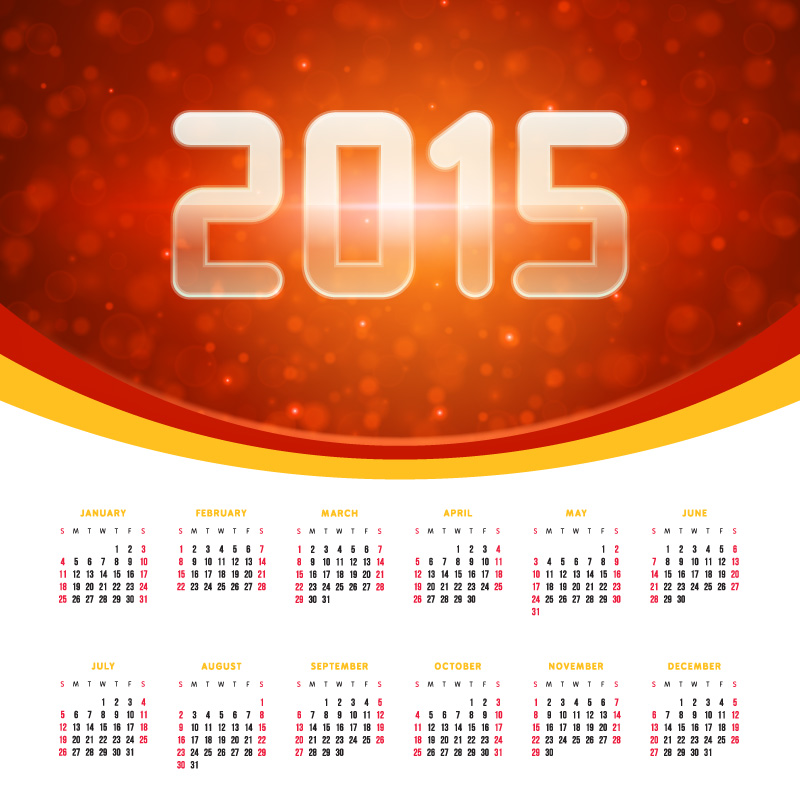 Red Dream Calendar 2015 Vector