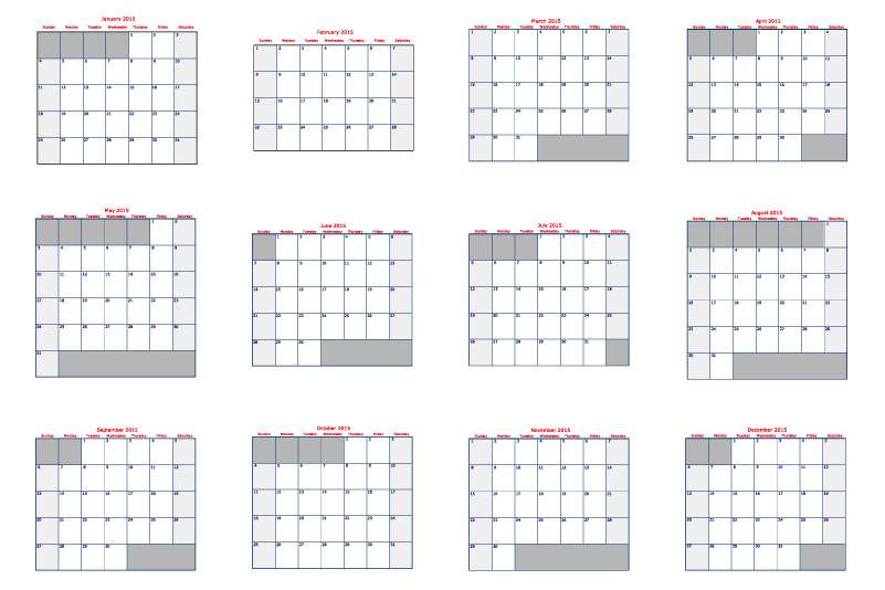 Simple Grid Calendar 2015 Vector