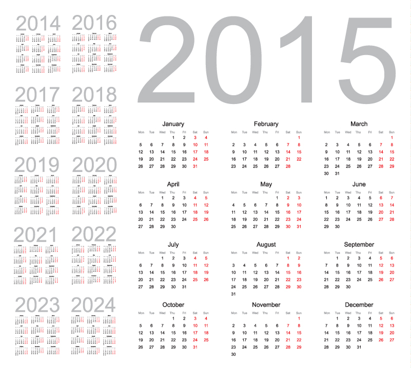 Simple Red Calendar 2015 2024 Vector
