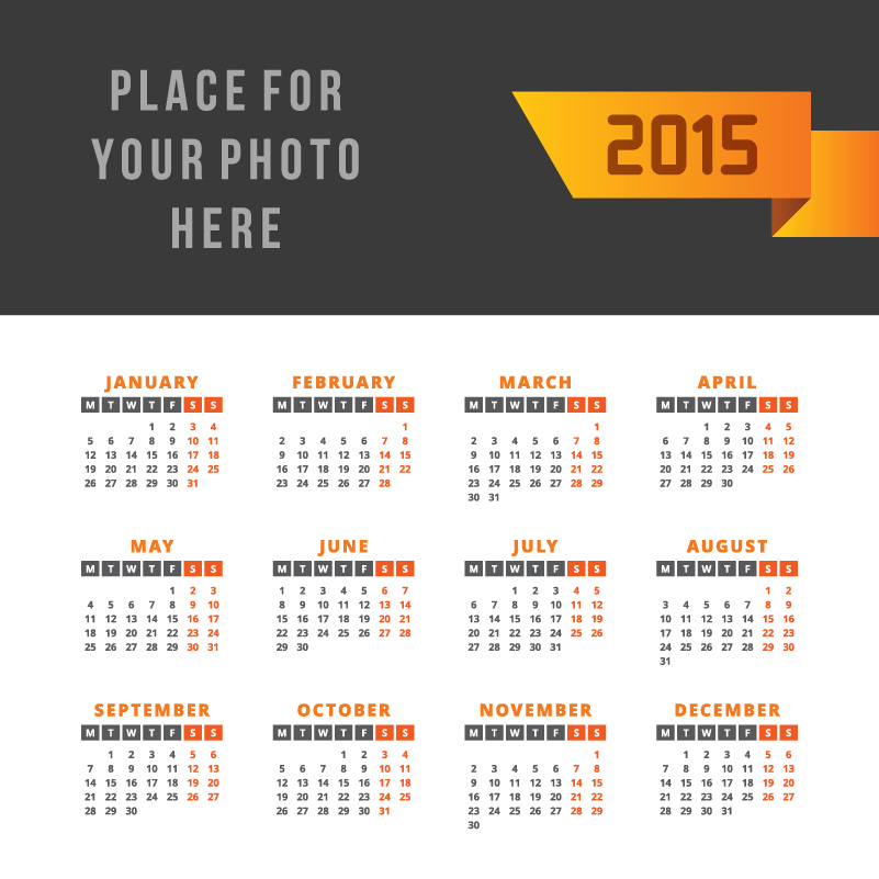 Simple Ribbon Calendar 2015 Vector