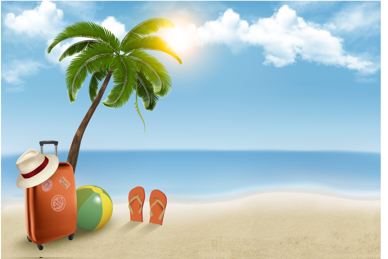 Summer Beach Vacation Background Vector