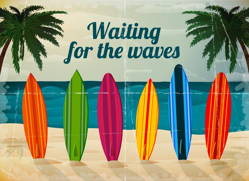 Summer Surf Background Vector