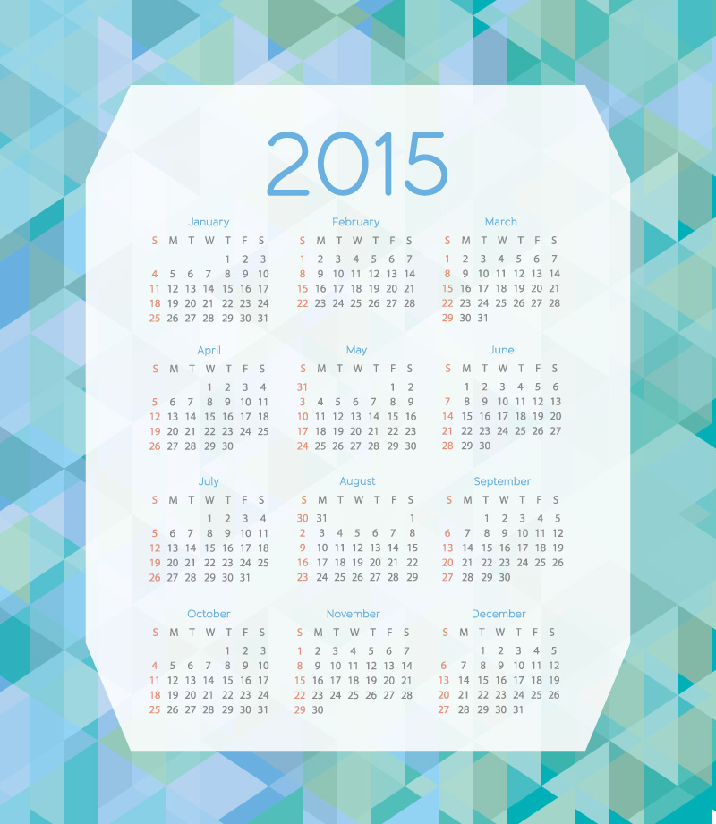 Triangle Background Calendar 2015 Vector
