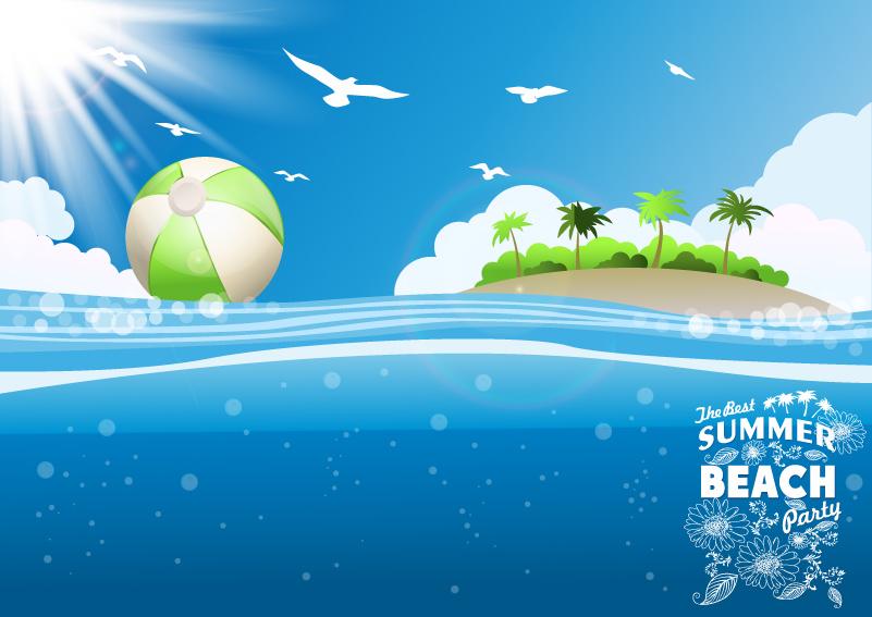 Tropical Island Beach Background Vector