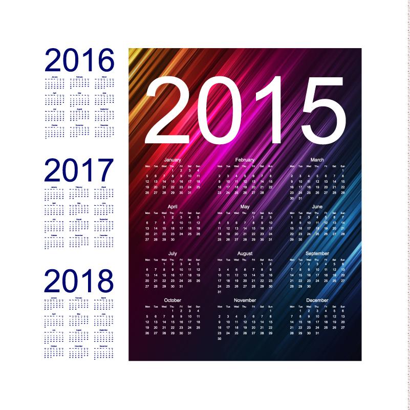 Twill Calendar 2015 2018 Vector