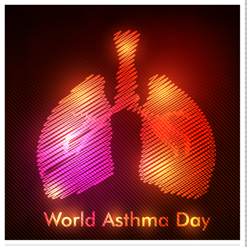 World Asthma Day Linear Lung Vector