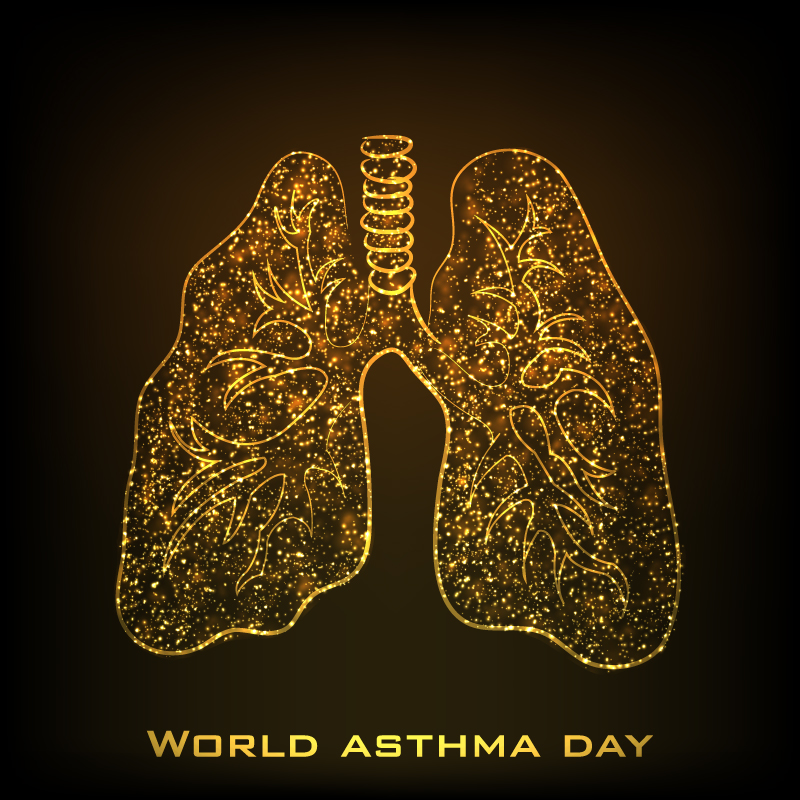 World Asthma Day Lung Background Vector
