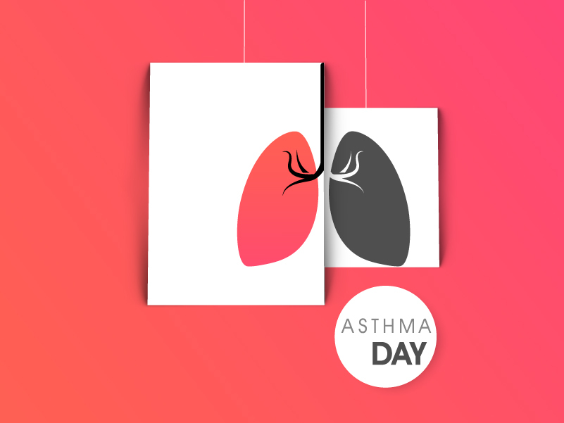 World Asthma Day Lung Contrast Vector