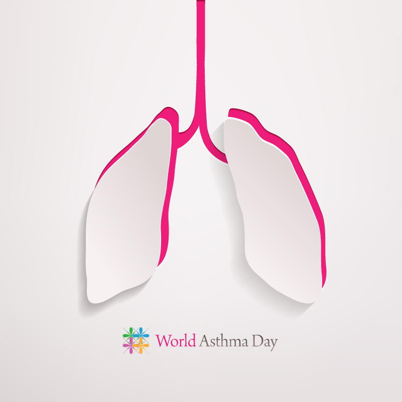 World Asthma Day Lung Icon Vector