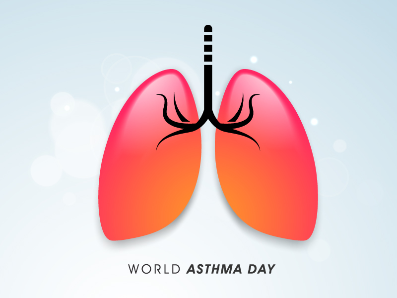World Asthma Day Lung Pink Vector