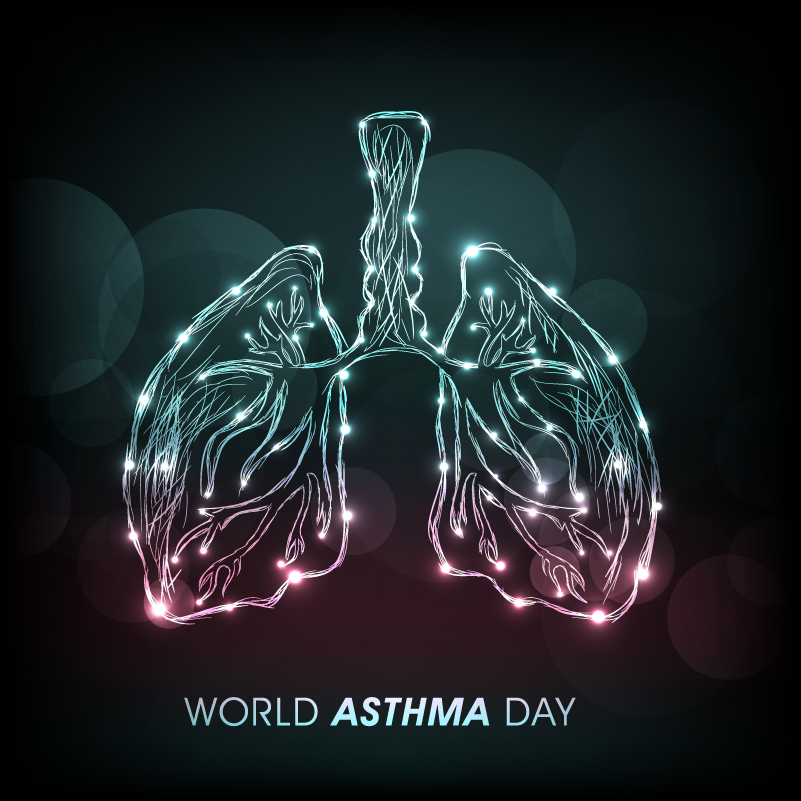 World Asthma Day Lung Shape Vector