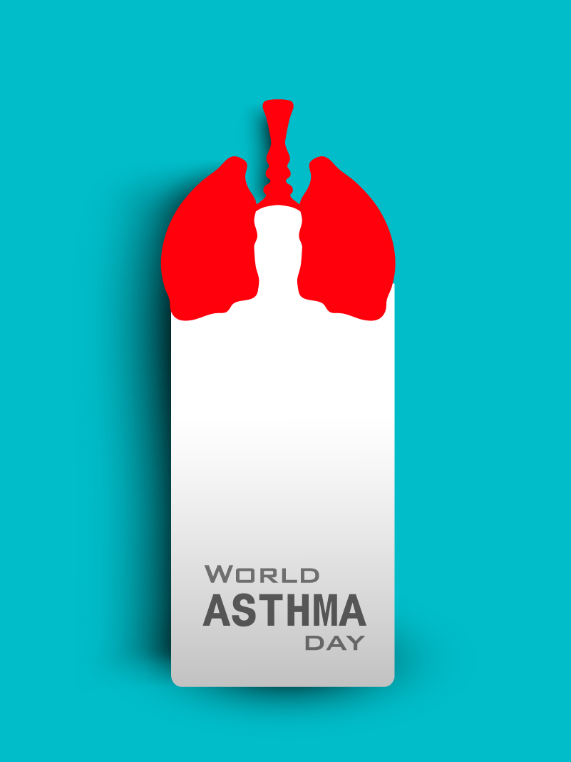 World Asthma Day Red Lung Vector