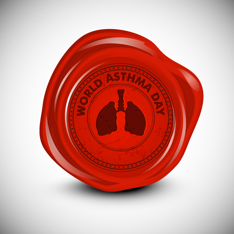 World Asthma Day Seal Vector