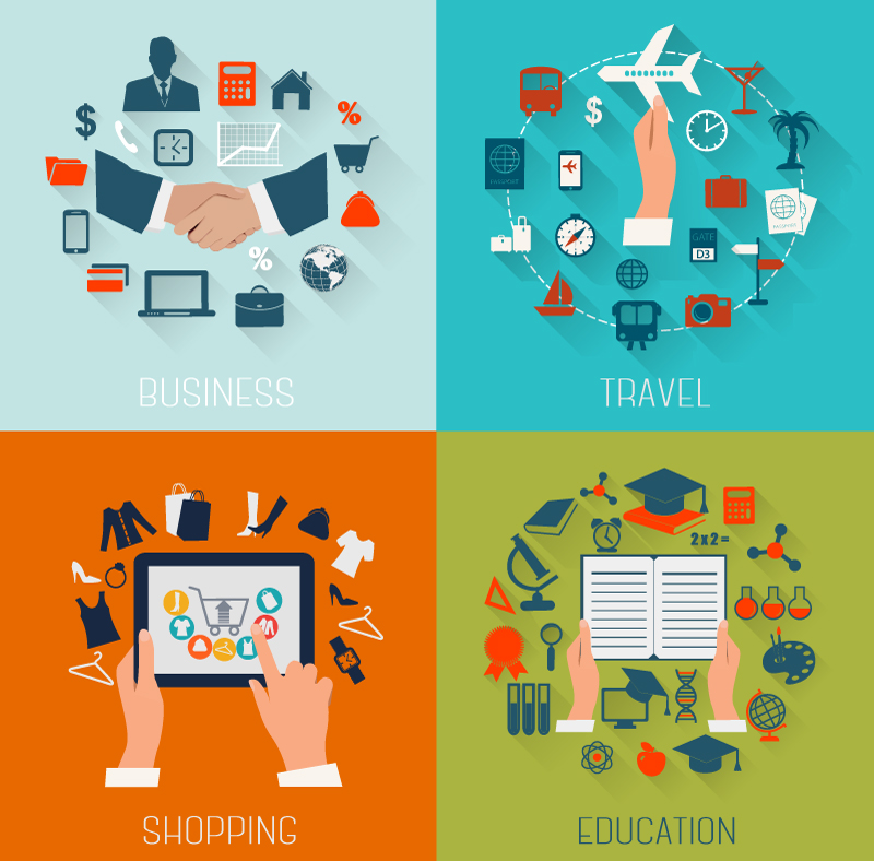 Business Travel Shopping Education Vector
