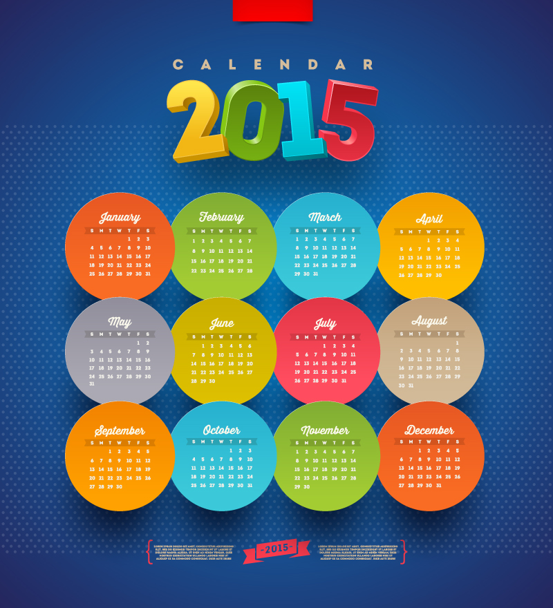 Calendar 2015 Round Stickers Vector