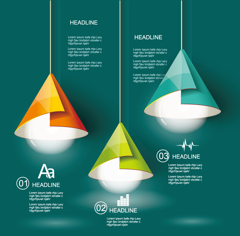 Color Origami Chandelier Infographic Vector