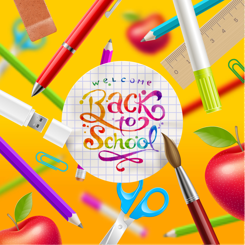 Colorful Back to School Design Vector