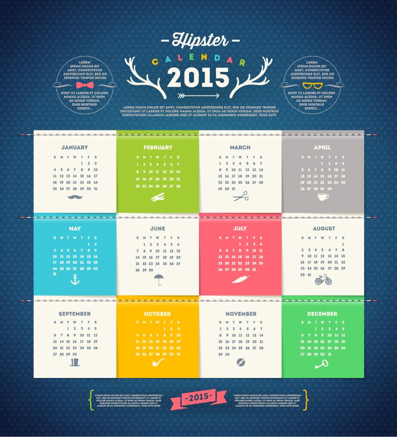 Hipster Calendar 2015 Vector