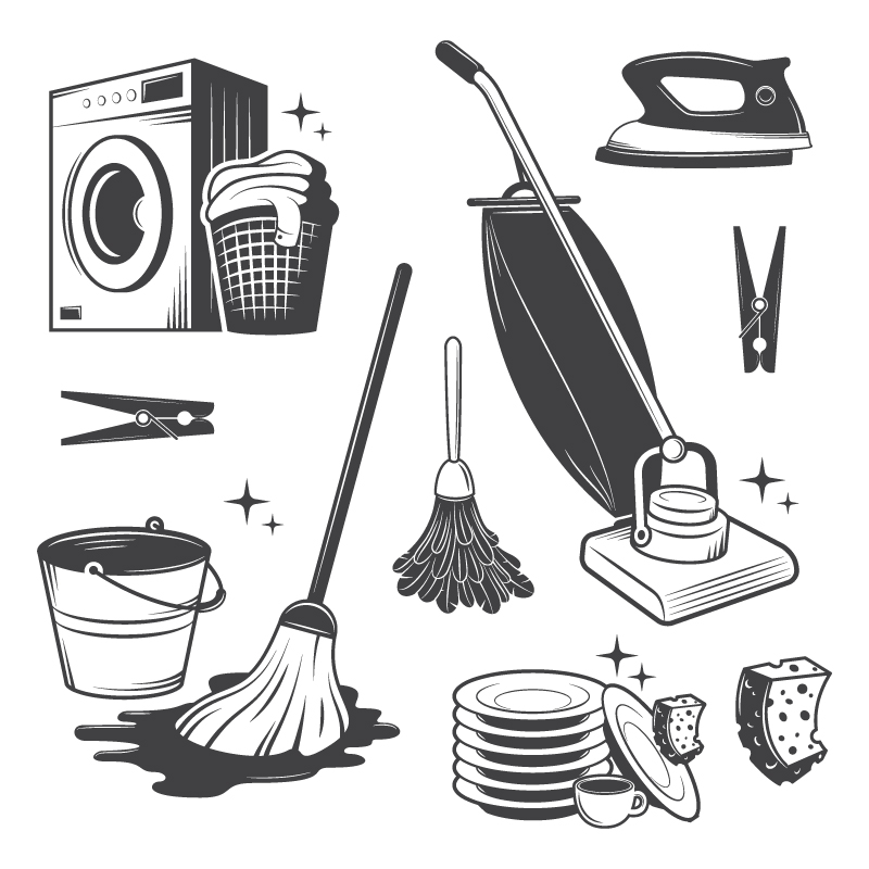 Household Cleaning Tools Vector