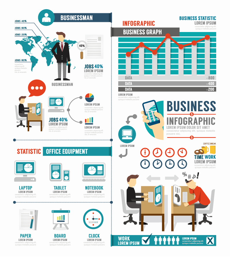 Infographic Business Office Equipment Vector Free