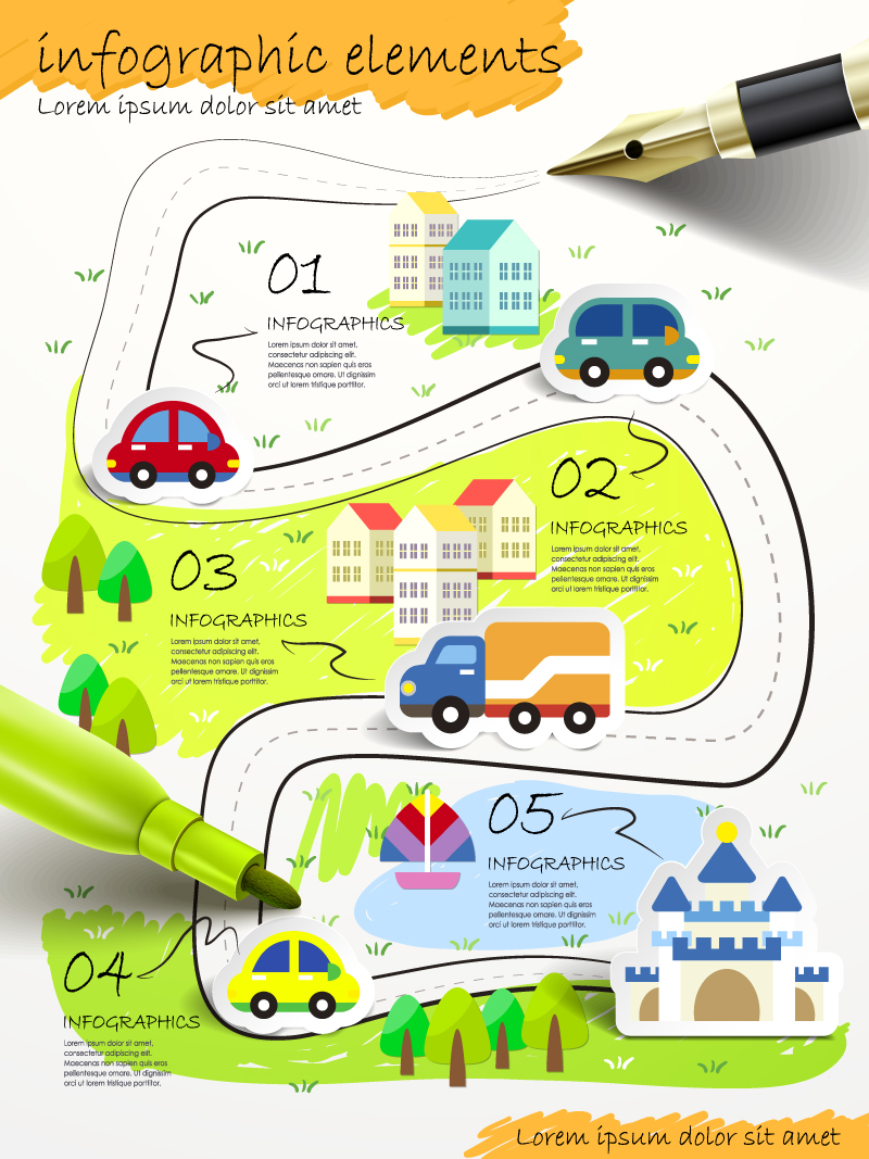 Infographics Hand Drawn City Business Vector