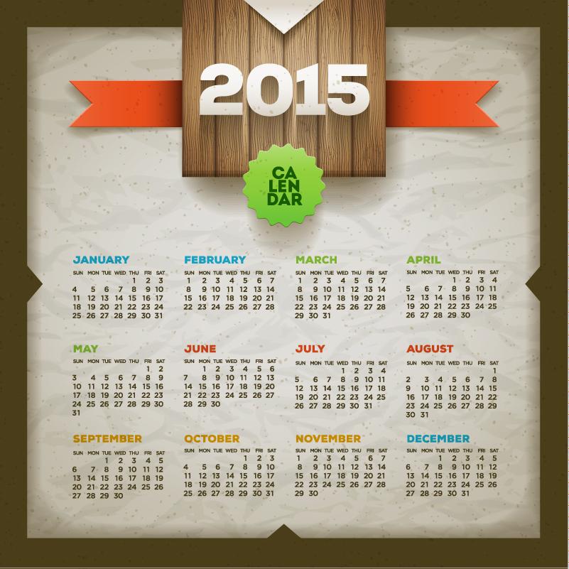 Paper Effect Calendar 2015 Vector