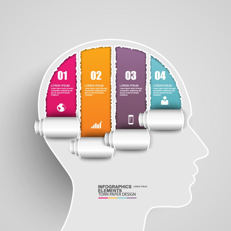 Torn Paper Design Infographics Vector