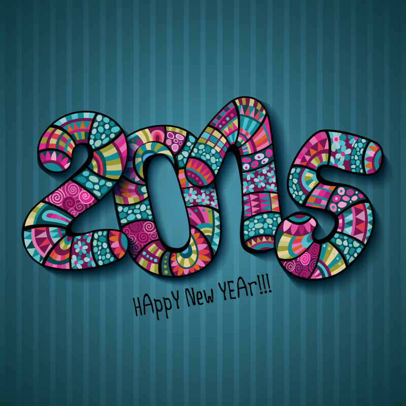 Happy New Year 2015 Pattern Background Vector