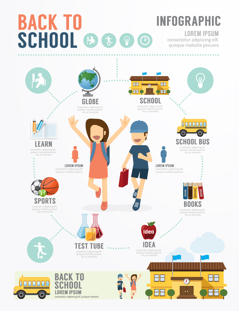 Infographic Back to School Vector
