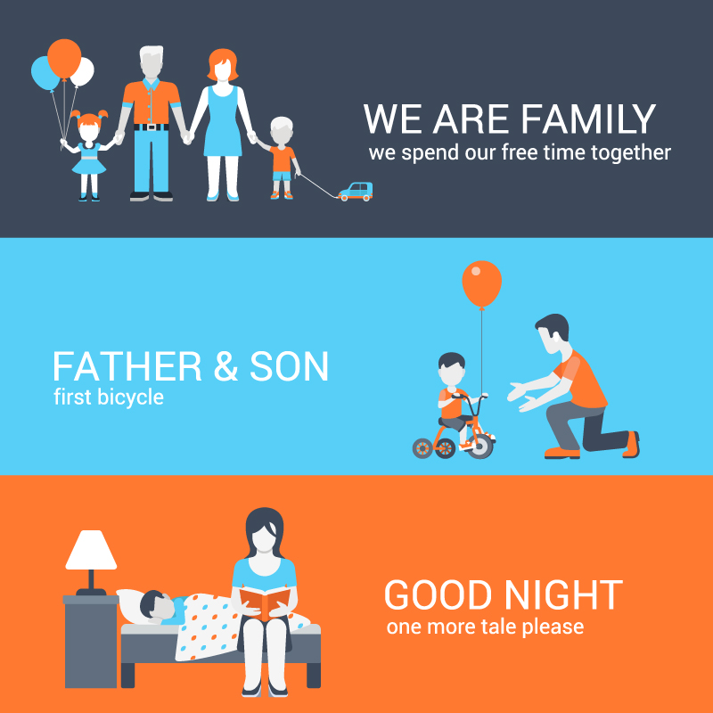 Warm Family Banner Vector