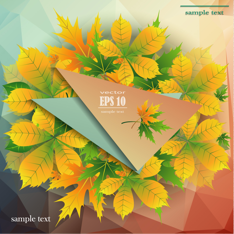 Yellow Autumn Leaves Background Vector