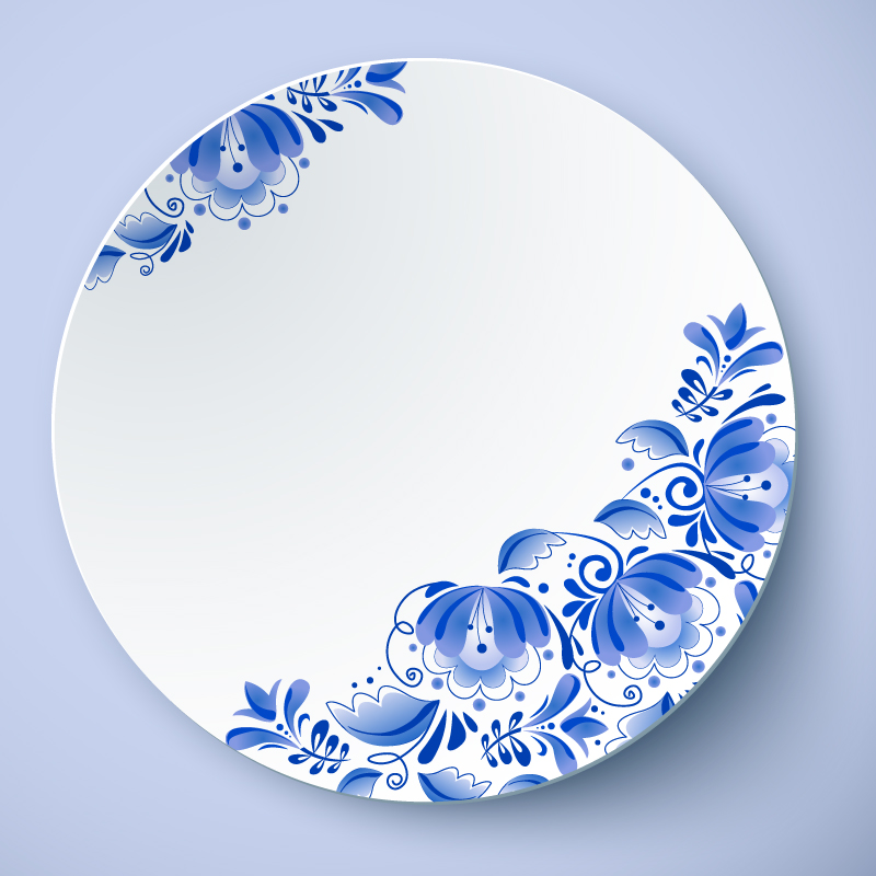 Blue and White Porcelain Plate Vector
