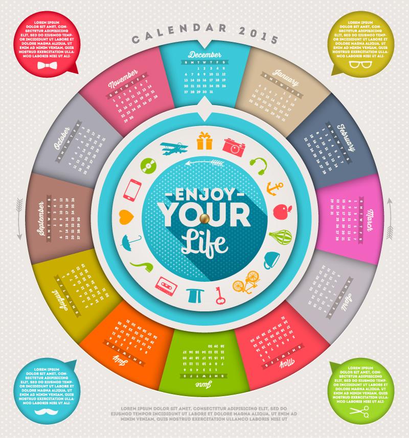 Calendar 2015 Circle Life Vector