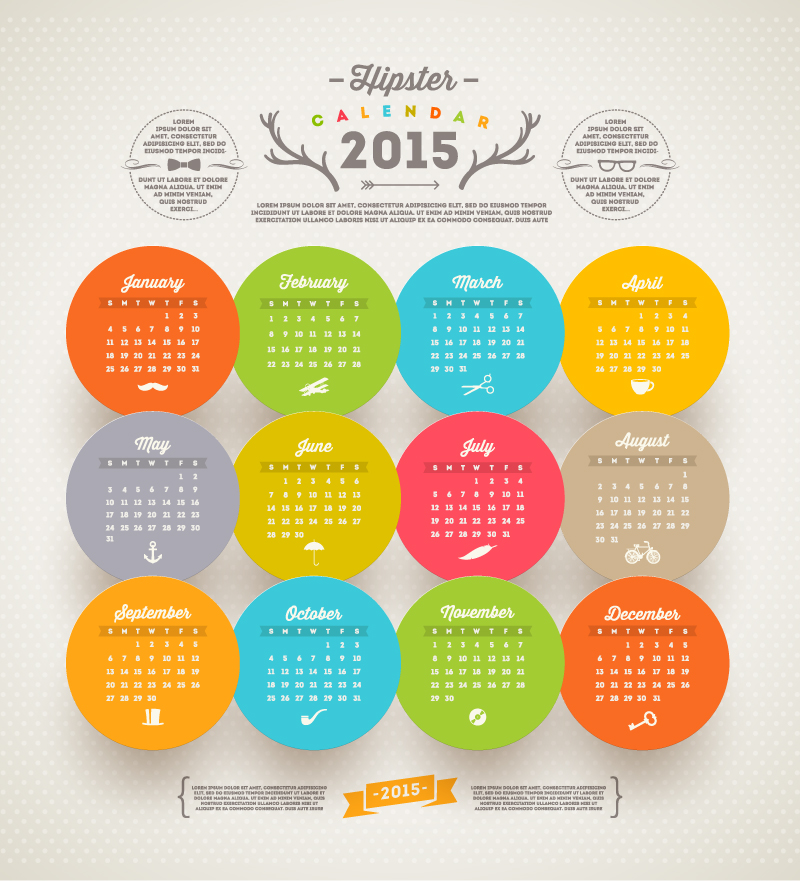 Calendar 2015 Hipster Sticker Vector