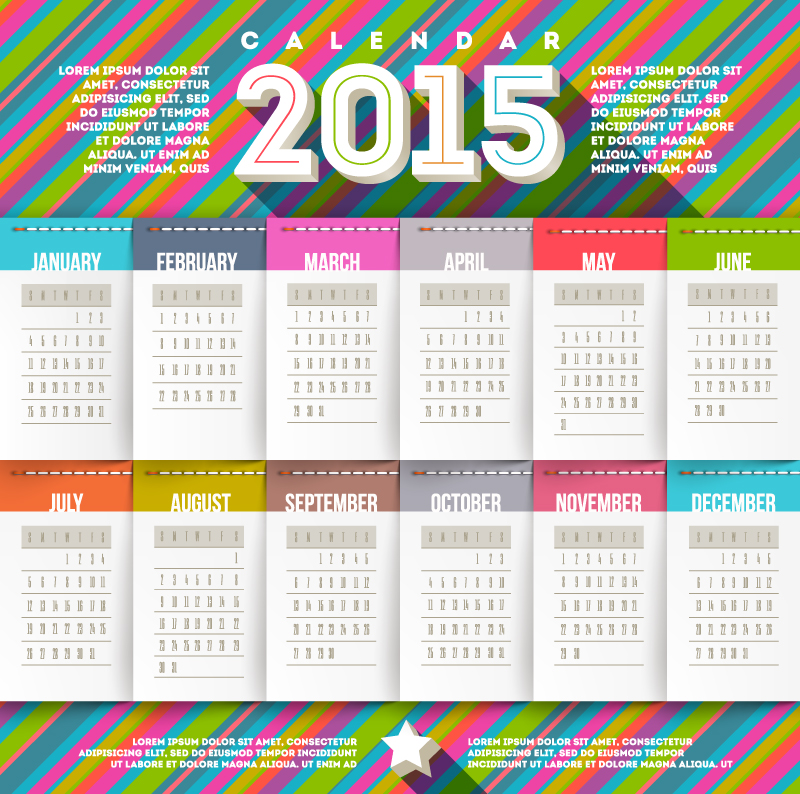 Calendar 2015 Sheep Fringe Vector