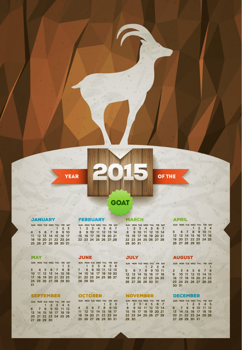 Calendar 2015 Sheep Goat Vector