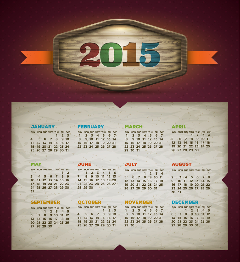 Calendar 2015 Tear Vector