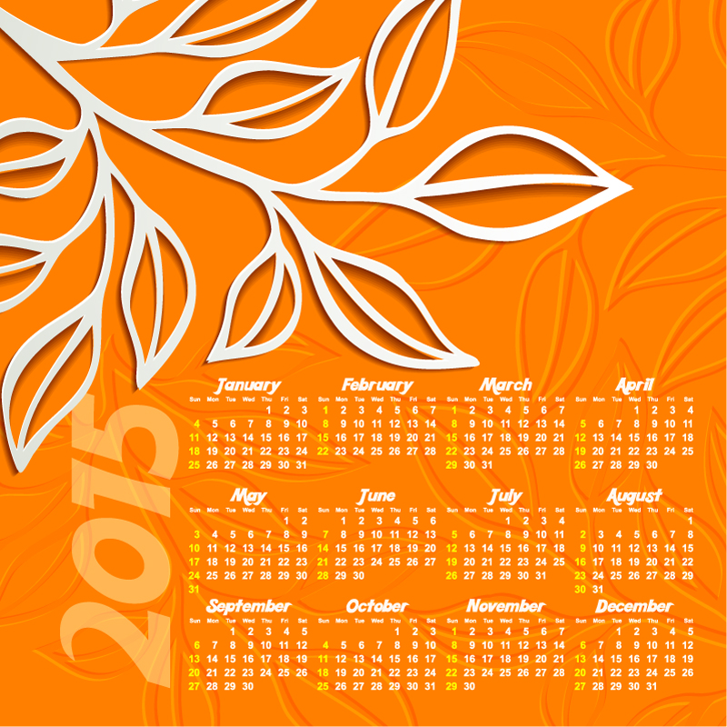 Calendar 2015 White Paper-cut Leaves Vector