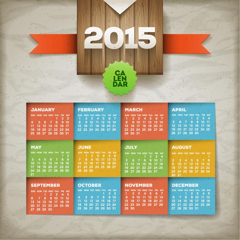 Calendar 2015 Wood Spots Vector