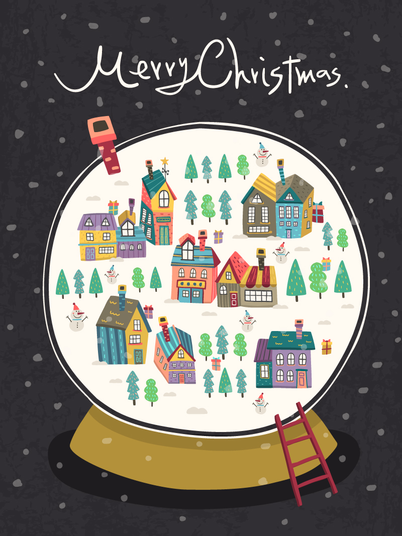 Cartoon Snow Globe Illustration Vector