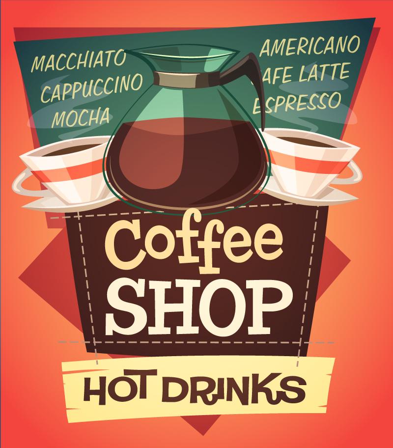 Coffee Shop Logo Vector Coffee Shop Hot Drinks Vector