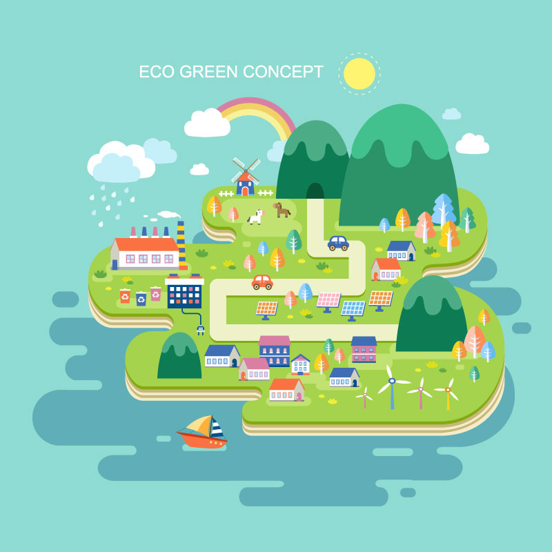 ECO Concept Green City Vector