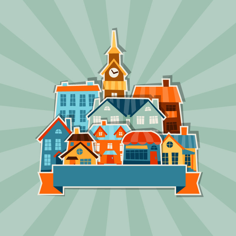 Fun Cartoon Building Icon Background Vector